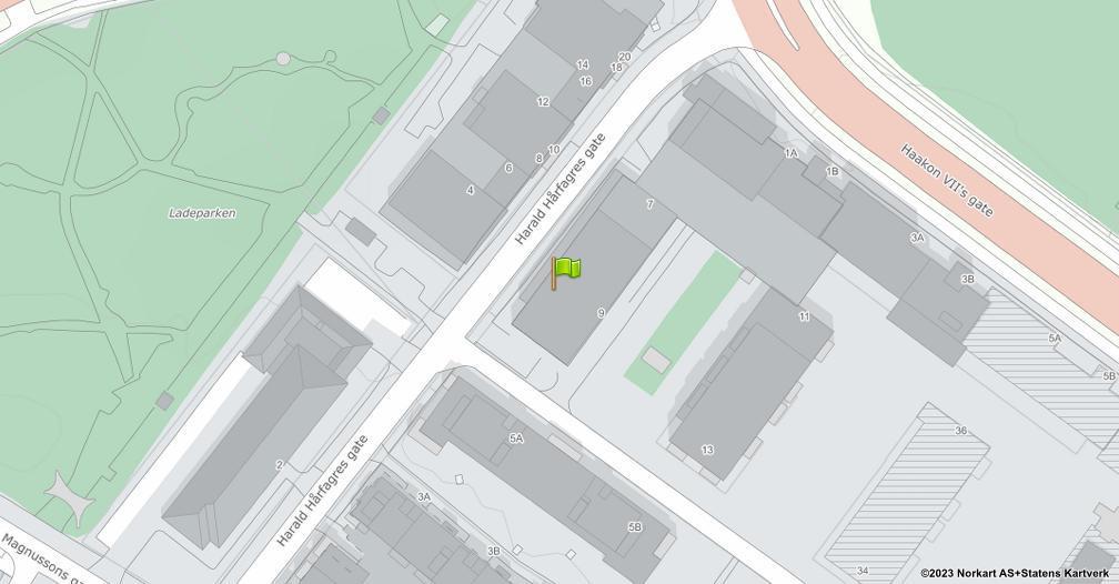 Kart sentrert på geolokasjonen 63.44526 breddegrad, 10.442631 lengdegrad