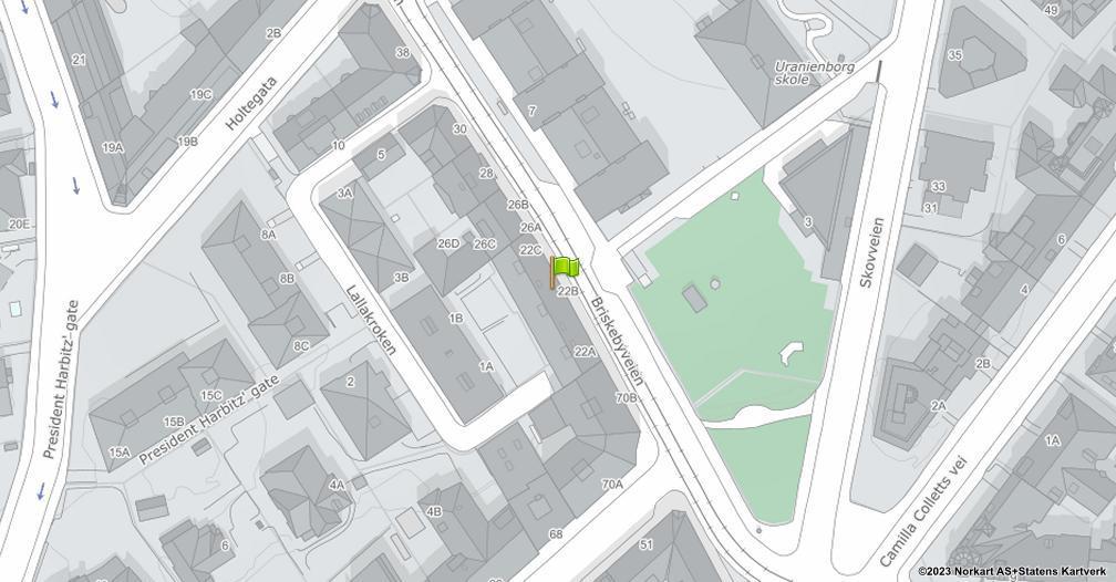 Kart sentrert på geolokasjonen 59.9196862489215 breddegrad, 10.7183297463503 lengdegrad