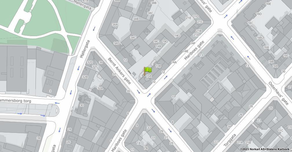 Kart sentrert på geolokasjonen 59.9170077027242 breddegrad, 10.7508451163366 lengdegrad