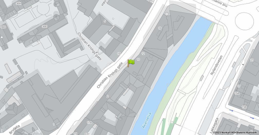 Kart sentrert på geolokasjonen 59.91459274291992 breddegrad, 10.758280754089355 lengdegrad