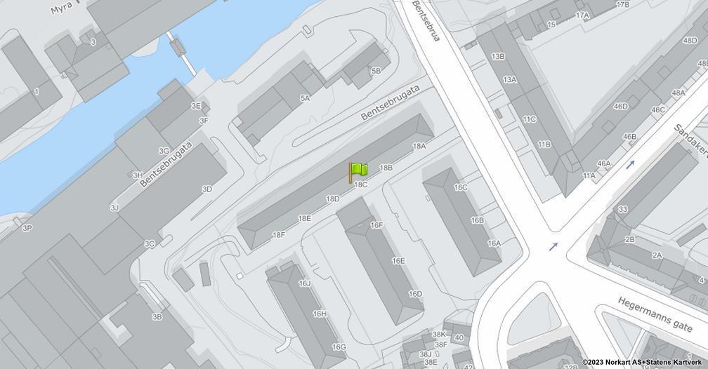 Kart sentrert på geolokasjonen 59.9358590105321 breddegrad, 10.7610204496371 lengdegrad