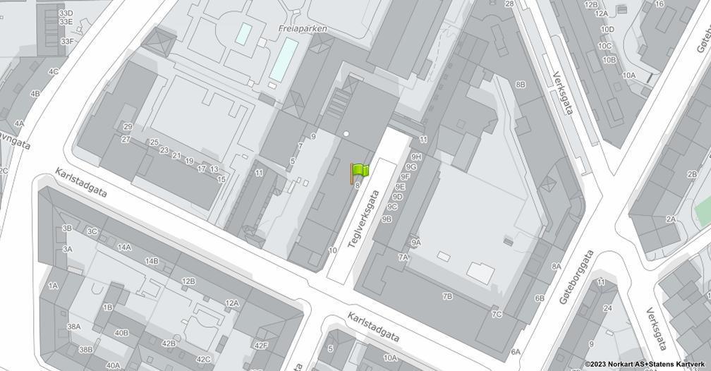 Kart sentrert på geolokasjonen 59.9247170216181 breddegrad, 10.7654217158739 lengdegrad