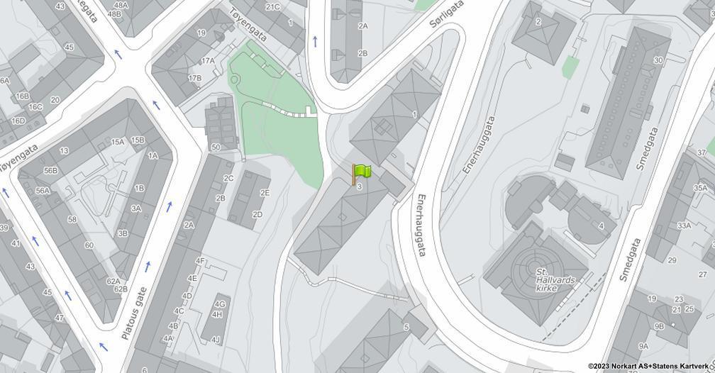 Kart sentrert på geolokasjonen 59.9130802263432 breddegrad, 10.7678621068551 lengdegrad