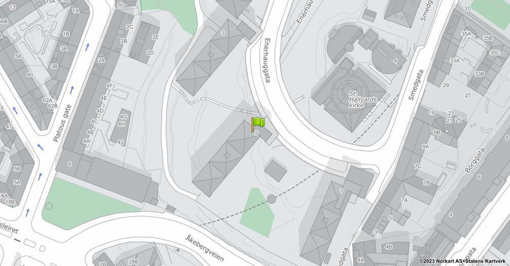Kart sentrert på geolokasjonen 59.9125818012834 breddegrad, 10.7681933077559 lengdegrad