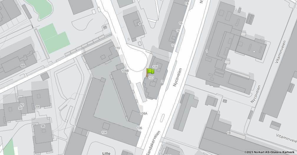 Kart sentrert på geolokasjonen 59.9456476156105 breddegrad, 10.7721741773817 lengdegrad
