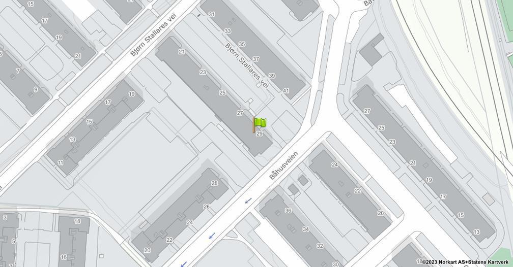 Kart sentrert på geolokasjonen 59.9323704724839 breddegrad, 10.7820244389399 lengdegrad