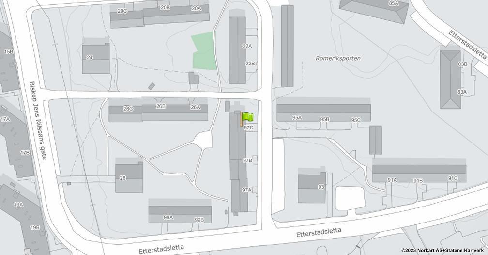 Kart sentrert på geolokasjonen 59.9076350283836 breddegrad, 10.7979196967901 lengdegrad