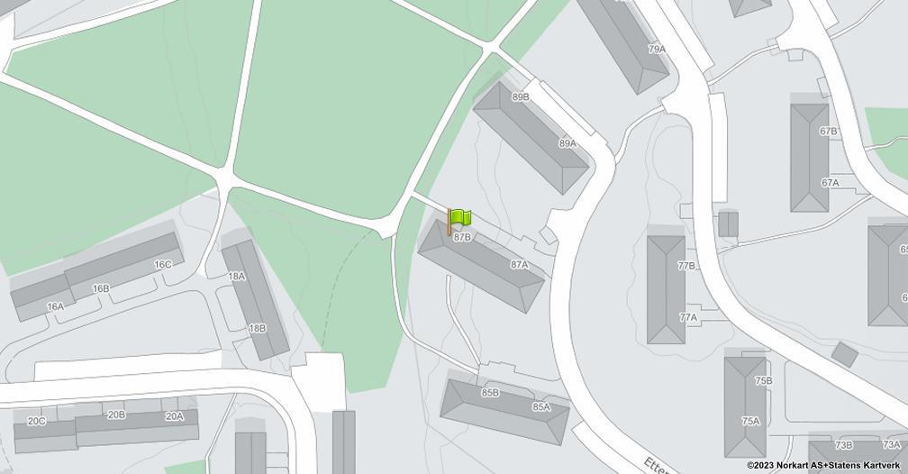 Kart sentrert på geolokasjonen 59.9087522195045 breddegrad, 10.7989815869639 lengdegrad