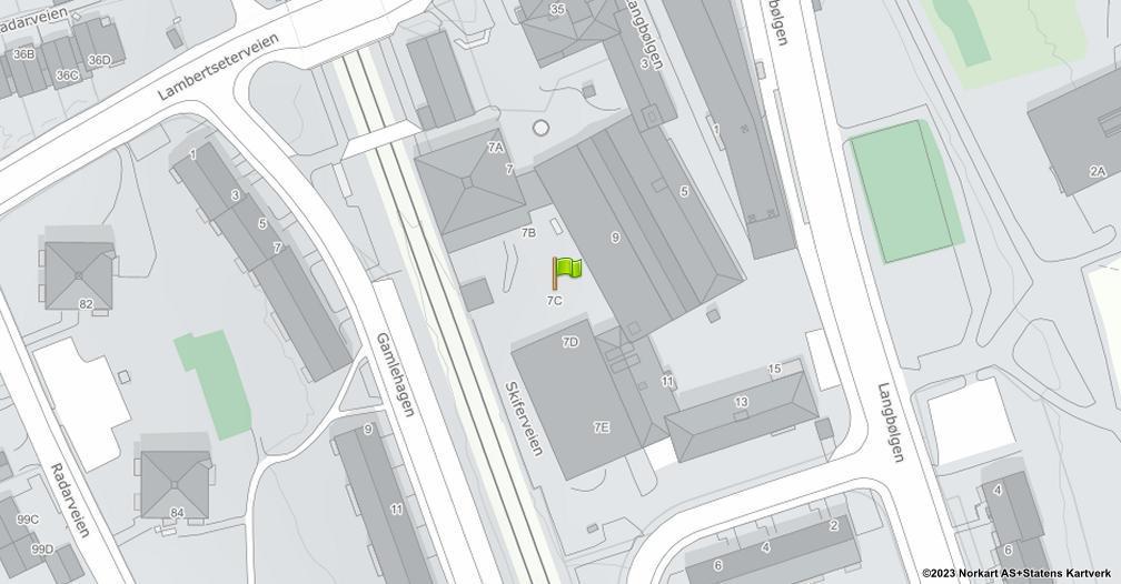 Kart sentrert på geolokasjonen 59.872844 breddegrad, 10.811302 lengdegrad