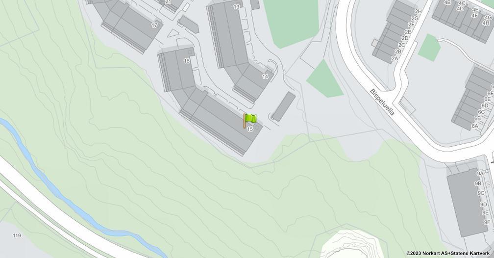 Kart sentrert på geolokasjonen 59.8472287393403 breddegrad, 10.8135316634979 lengdegrad