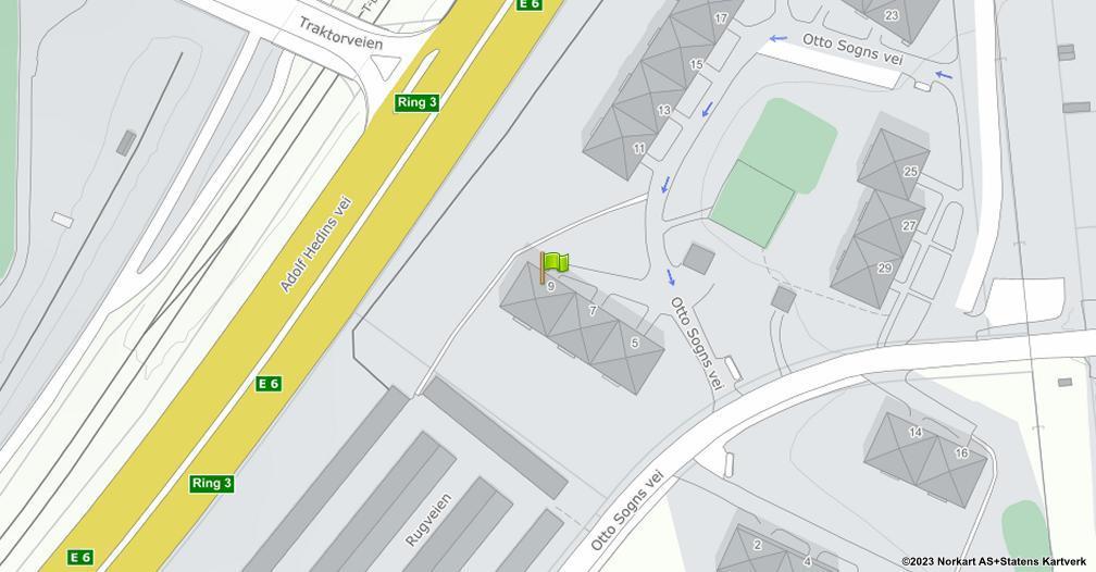 Kart sentrert på geolokasjonen 59.899427104071 breddegrad, 10.8168205271323 lengdegrad