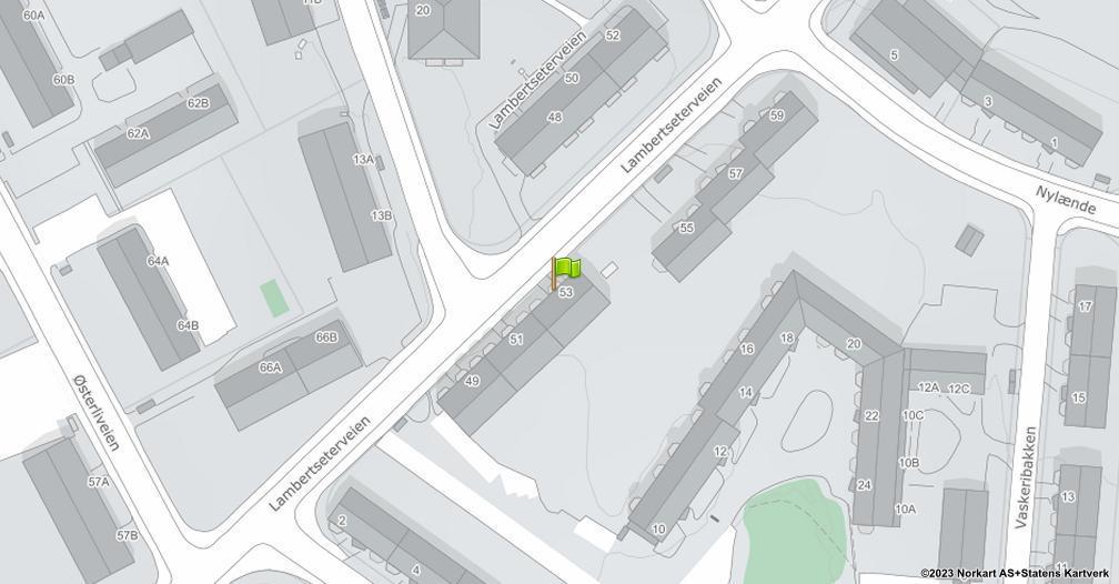 Kart sentrert på geolokasjonen 59.8755795341454 breddegrad, 10.8169124445262 lengdegrad