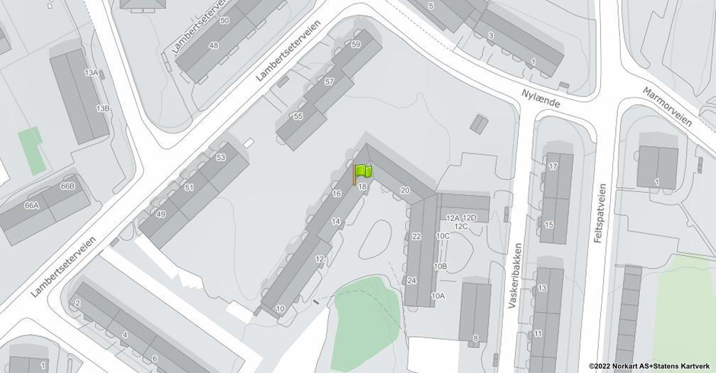 Kart sentrert på geolokasjonen 59.8754759913597 breddegrad, 10.8179072724944 lengdegrad