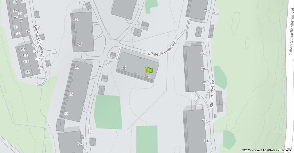Kart sentrert på geolokasjonen 59.8658380100455 breddegrad, 10.8360811742575 lengdegrad