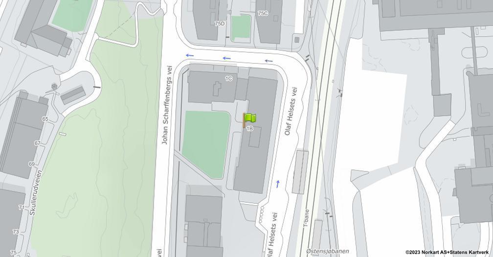 Kart sentrert på geolokasjonen 59.8670454943847 breddegrad, 10.8394681575546 lengdegrad