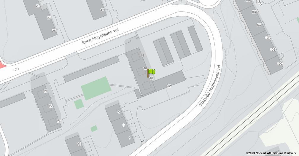 Kart sentrert på geolokasjonen 59.943235902576 breddegrad, 10.8416846165155 lengdegrad