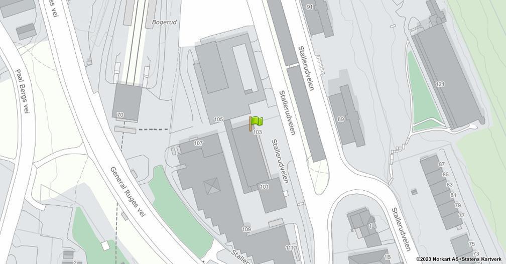 Kart sentrert på geolokasjonen 59.8754971683714 breddegrad, 10.8432045752193 lengdegrad