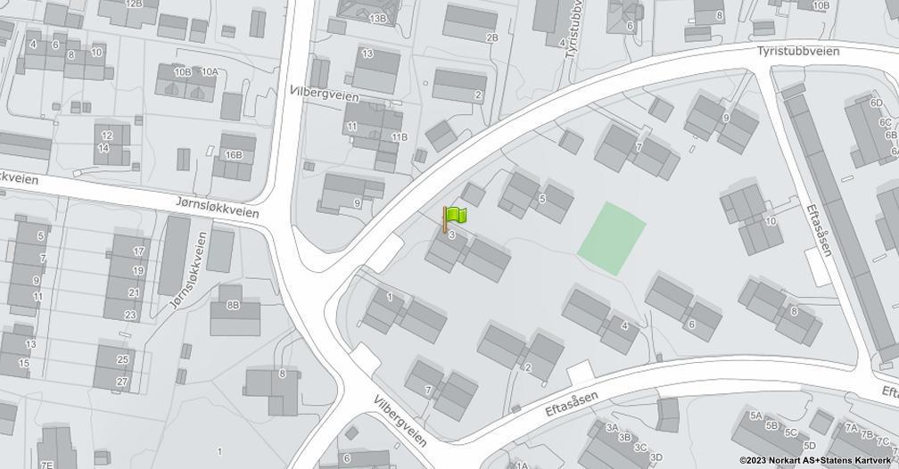 Kart sentrert på geolokasjonen 59.8940101546686 breddegrad, 10.8478965703174 lengdegrad