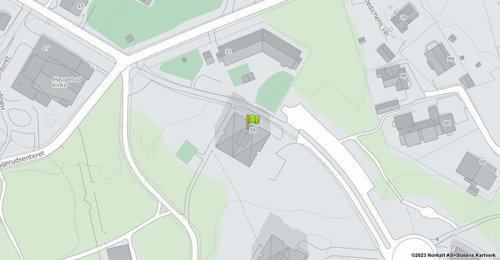 Kart sentrert på geolokasjonen 59.9212012800141 breddegrad, 10.8597849293927 lengdegrad
