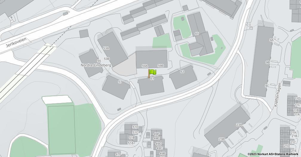Kart sentrert på geolokasjonen 59.9347099022824 breddegrad, 10.8880932772141 lengdegrad