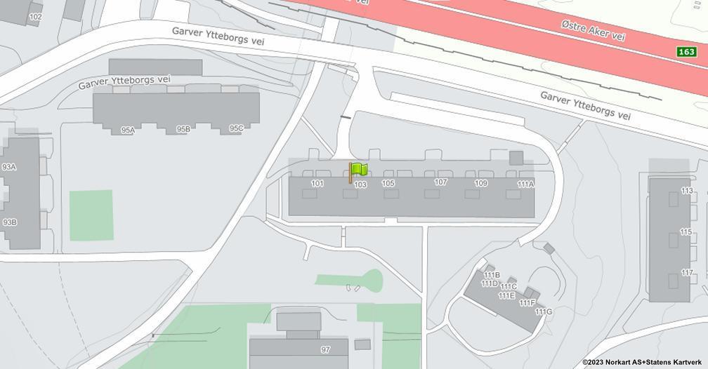 Kart sentrert på geolokasjonen 59.9522213409156 breddegrad, 10.9146003654311 lengdegrad