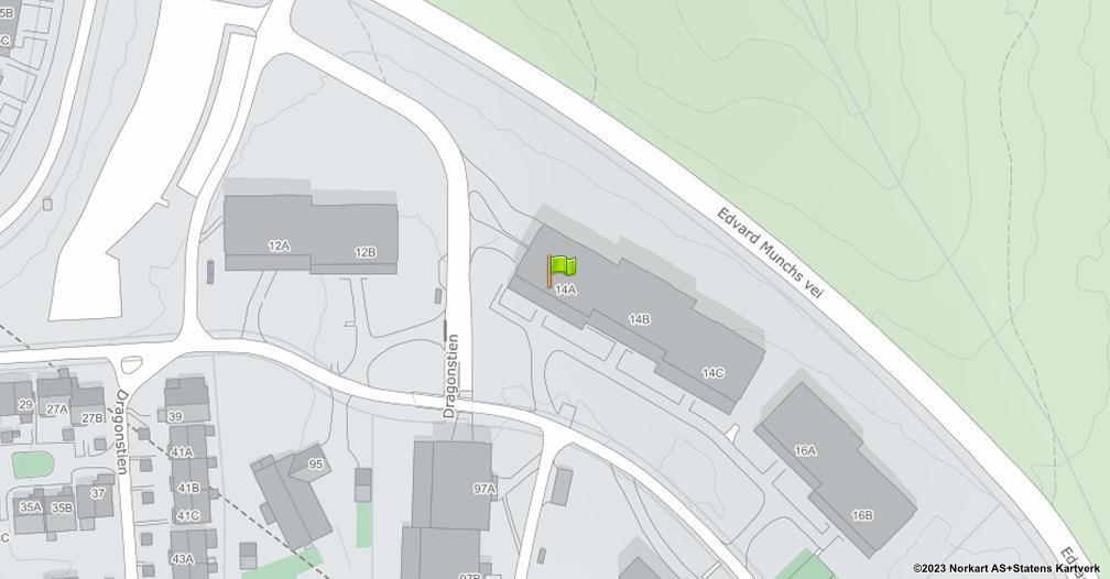 Kart sentrert på geolokasjonen 59.9380107198235 breddegrad, 10.9146938407421 lengdegrad