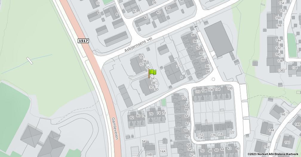 Kart sentrert på geolokasjonen 59.9215288387448 breddegrad, 10.9411172835313 lengdegrad