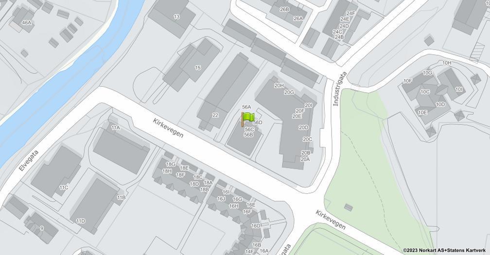 Kart sentrert på geolokasjonen 60.8873539601353 breddegrad, 10.9452617457324 lengdegrad