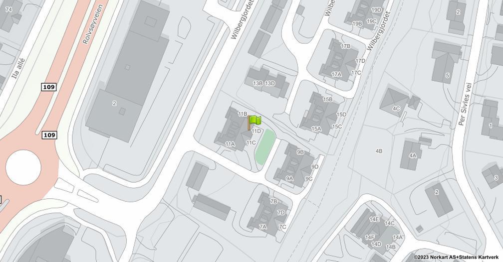 Kart sentrert på geolokasjonen 59.2234683475669 breddegrad, 10.9541234340315 lengdegrad