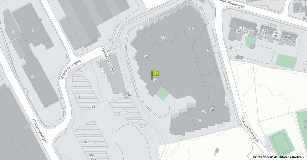 Kart sentrert på geolokasjonen 60.3597621980755 breddegrad, 5.12831663649857 lengdegrad