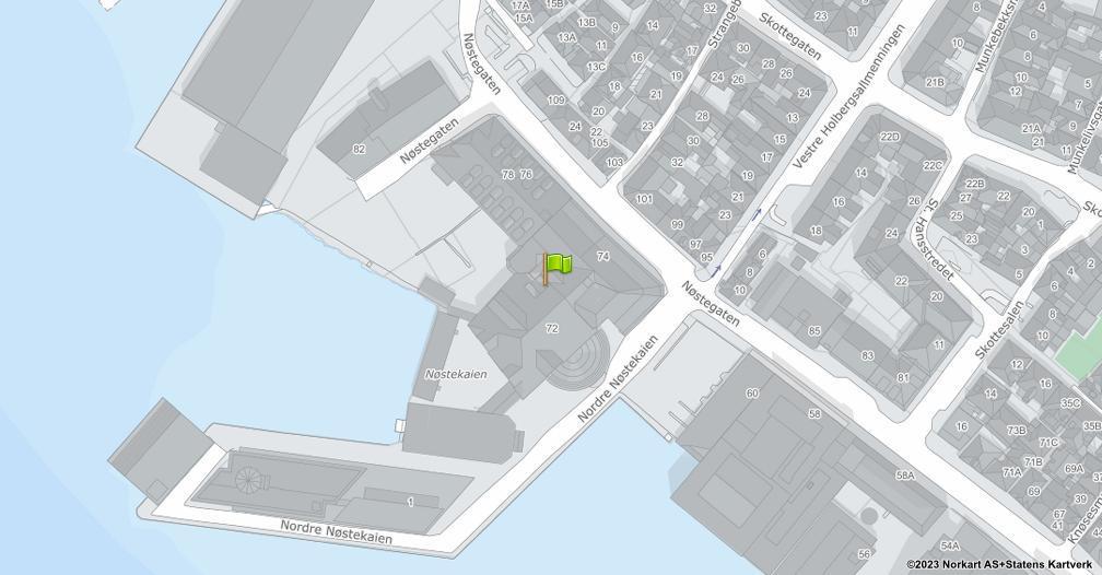 Kart sentrert på geolokasjonen 60.393944 breddegrad, 5.311975 lengdegrad