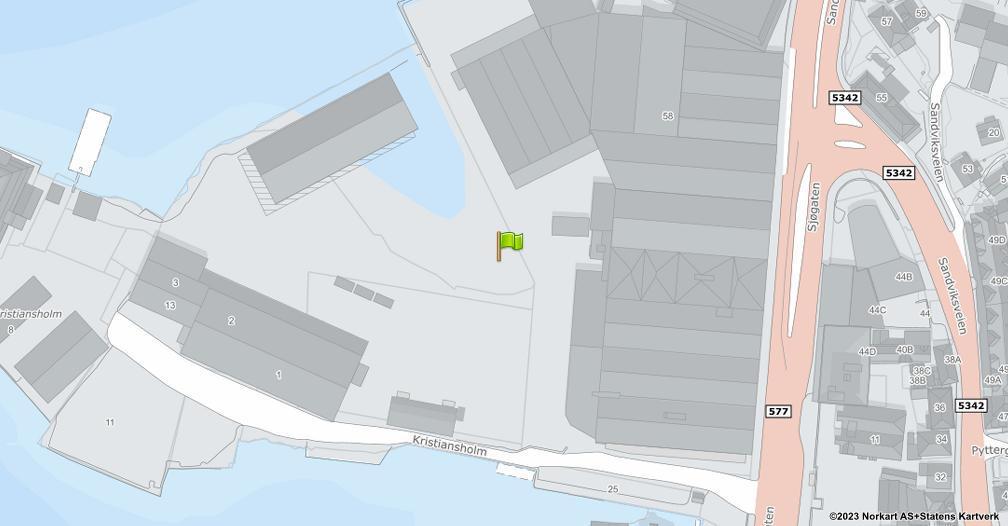 Kart sentrert på geolokasjonen 60.408917 breddegrad, 5.320821 lengdegrad